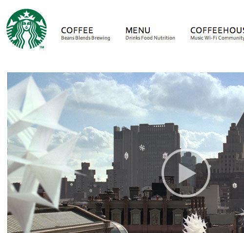Starbucks website screenshot